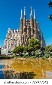 BARCELONA, SPAIN - AUGUST 10:  Cathedral called Sagrada Familia on August 10, 2017 in Barcelona, Spain. Cathedral was originally designed by Antoni Gaudi is still being built since 1882.