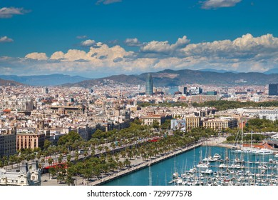 BARCELONA, SPAIN - AUGUST 10: Look on Barcelona city from cableway Teleferico over the harbour.