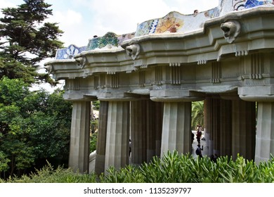 BARCELONA, SPAIN - AUGUST 11, 2007: The colonnade (Hipostila Room, Hall of Columns) with 86 inclined columns. Parc Guell, Barcelona, Spain.