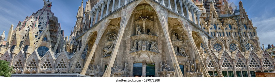 BARCELONA, SPAIN - AUGUST 11, 2016: Detailed panoramic view on the bottom part of Sagrada Familia