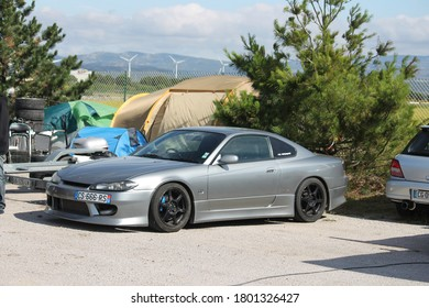 Barcelona, Spain; August 12, 2018: Japan sports car, custom tuning Nissan Silvia S15 performance