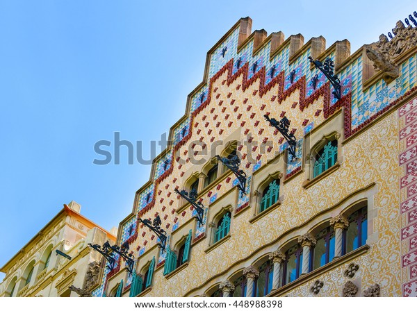 Barcelona, Spain - August 14, 2011: Casa Amatller in Modernisme style in the block of Discord in the Eixample district of Barcelona, Spain. It was designed by Josep Puig i Cadafalch