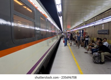BARCELONA, SPAIN - AUGUST 14: Passeig de Gracia  train station on August 14, 2010 in Barcelona, Spain. Underground station was finished in 1959.
