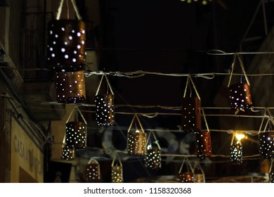 BARCELONA, SPAIN - AUGUST 15, 2018: Major de Gracia Festival in Barcelona, Spain. Decorated square of Gracia district.