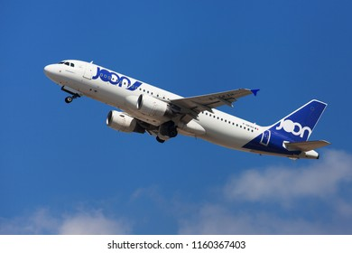 Barcelona, Spain - August 15, 2018: Joon Airbus A320 taking off from El Prat Airport in Barcelona, Spain.