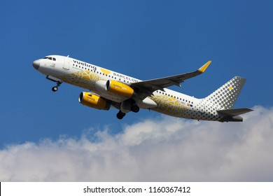 Barcelona, Spain - August 15, 2018: Vueling Airbus A320 with Vueling Loves Barcelona special livery taking off from El Prat Airport in Barcelona, Spain.