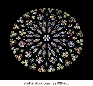 BARCELONA, SPAIN - AUGUST 16, 2014: The Rosette window of Santa Maria del Pi, is a 14th century Gothic church situated on the Pi Square, in the Barri Gotic, a district of Barcelona, Catalonia, Spain