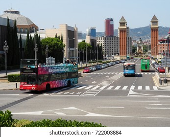 BARCELONA, SPAIN - AUGUST 16: Tourist bus in Montjuic, Barcelona, Spain on August 16, 2017. Barcelona Bus Turistic is an official touristic bus service that shows the city with an audio guide.