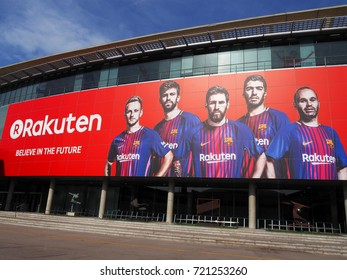 BARCELONA, SPAIN - AUGUST 16: View of the exterior of Camp Nou stadium in Barcelona, Spain on August 16, 2017. It is the home stadium of Futbol Club Barcelona and the largest stadium in Europe.