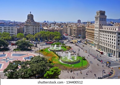 BARCELONA, SPAIN - AUGUST 17: Aerial view of Placa Catalunya on August 17, 2012 in Barcelona, Spain. This square is considered to be the city center and some of the most important streets meet there
