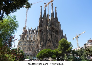 BARCELONA, SPAIN - August 17th 2017: View of Sagrada Familia church in Barcelona, Spain.