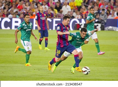 BARCELONA, SPAIN - AUGUST 18: Leo Messi of FCB (10) in action at Gamper friendly match between FC Barcelona and Club Leon FC, final score 6-0, on August 18, 2014, in Camp Nou, Barcelona, Spain.