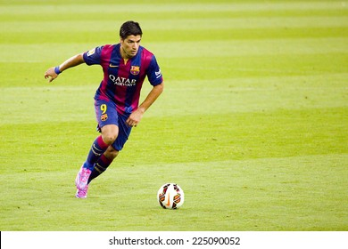 BARCELONA, SPAIN - AUGUST 18: Luis Suarez of FCB in action at Gamper friendly match between FC Barcelona and Club Leon FC, final score 6-0, on August 18, 2014, in Camp Nou, Barcelona, Spain.