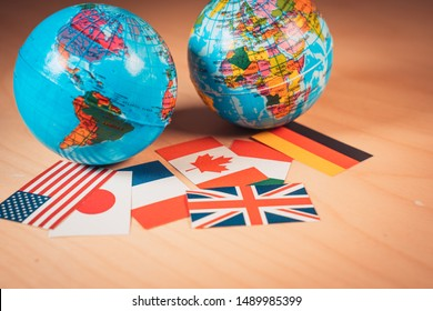 BArcelona, Spain. August 19:Earth globe toy balls with Flags of the Great 7 or Big seven. Suitable for G7 or G8 summit economic political concept