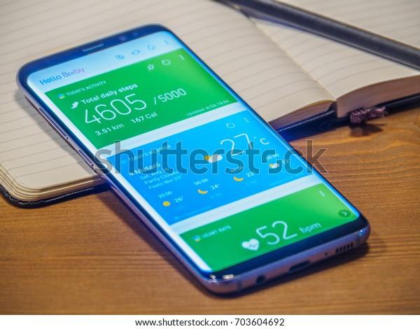 Barcelona Spain August 2017 Smartphone Samsung Stock Photo