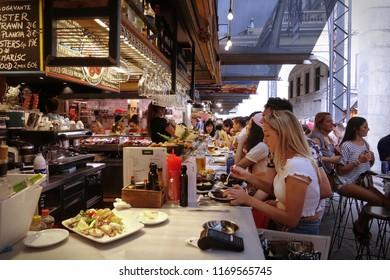 BARCELONA, SPAIN - August, 2018: Inside Market hall La Boqueria on La Rambla