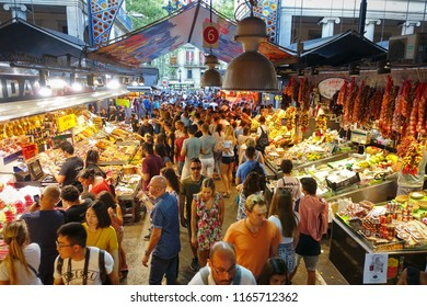 BARCELONA, SPAIN - August, 2018: Market hall La Boqueria on La Rambla