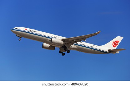 Barcelona, Spain - August 21, 2016: Air China Airbus A330-300 taking off from El Prat Airport in Barcelona, Spain.