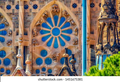 BARCELONA, SPAIN, August 21 2017: Decorative fragments of Facade of Passion from Sagrada Familia in Barcelona, Spain.