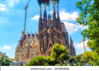 BARCELONA, SPAIN, August 21 2017: A view from the neighbouring park the Sagrada Familia in Barcelona, Spain.