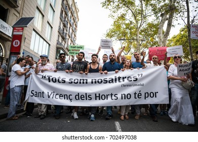 BARCELONA, SPAIN - AUGUST 21, 2017: Peace messages at the rally of the members of islamic community against terrorism, on August 21th, 2017 in Barcelona, Spain.