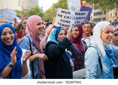 BARCELONA, SPAIN - AUGUST 21, 2017: A grup of girls in the rally of the members of islamic community against terrorism, on August 21th, 2017 in Barcelona, Spain.