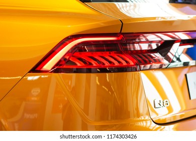 Barcelona, Spain - august 21, 2018: close-up of new car audi Q7 at the Auto Show. AUDI Q7 in store of official representative. Car tail light close-up