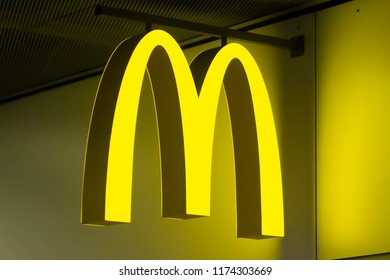 Barcelona, Spain - august 21, 2018: McDonald's logo on wall of building