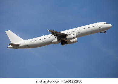Barcelona, Spain - August 23, 2019: Danish Air Transport Airbus A321 without livery taking off from El Prat Airport in Barcelona, Spain.