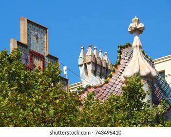 BARCELONA, SPAIN - AUGUST 23: Casa Amatller and Casa Batllo in Barcelona, Spain on August 23, 2017. On the left Casa Amatller designed by Josep Puig, on the right Casa Batllo by Antonio Gaudi.