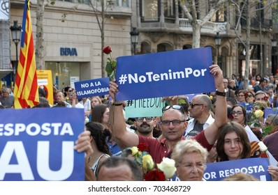 Barcelona, Spain - august 26, 2017:  Thousands of people have gathered in Barcelona for an anti-terror demonstration in solidarity with the victims of the recent attack