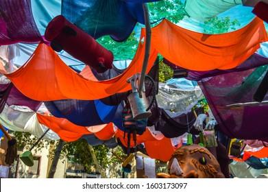 Barcelona, Spain - August 27 2019: Fiesta Major de Gracia, Placa Vila de Gracia in Barcelona, Spain. Decorated streets of Gracia district.