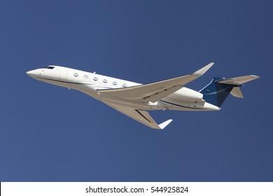 Barcelona, Spain - August 28, 2016: Gulfstream G650 taking off from El Prat Airport in Barcelona, Spain.