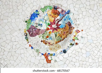 """BARCELONA, SPAIN - AUGUST 29: Detail of  Park Guell, designed by Antonio Gaudi, August 29, 2010 in Barcelona. Part of the UNESCO World Heritage Site """"Works of Antoni Gaudi""""."""