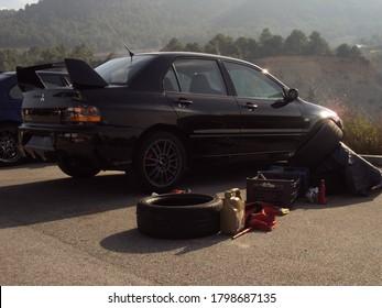 Barcelona, Spain; August 3, 2016: Fast japan AWD or 4WD car, custom tuning model of Mitsubishi Lancer