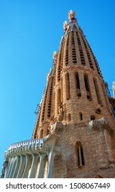 Barcelona, Spain - August 3, 2017: Sagrada Familia - exterior of Sagrada familia designed by Gaudi.