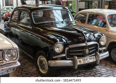 Barcelona, Spain; August 4, 2018: Classic spanish car black color exposed in the museum. Seat 1400