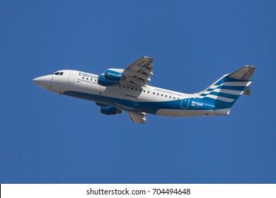 Barcelona, Spain - August 7, 2017: Ellinair British Aerospace Avro RJ85 taking off from El Prat Airport in Barcelona, Spain.