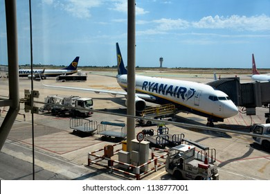 Barcelona, Spain - August 9, 2017: RYANAIR aircraft at the Prat airport in Barcelona.