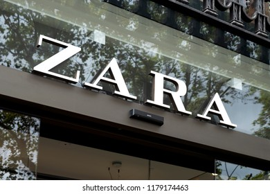 BARCELONA, SPAIN - AUGUST 9, 2018: Closeup of the signboard of the Zara store in the famous Passeig de Gracia avenue in Barcelona, Spain, one of the most important streets in the city