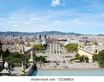 BARCELONA, SPAIN: beautiful view from Montjuic hill to Plaza de Espana in a sunny day