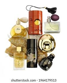Barcelona - Spain - Circa December 2020 - Still life of different distinguished brands of fragrances for women. Yves Saint Laurent, Prada, Van Cleef