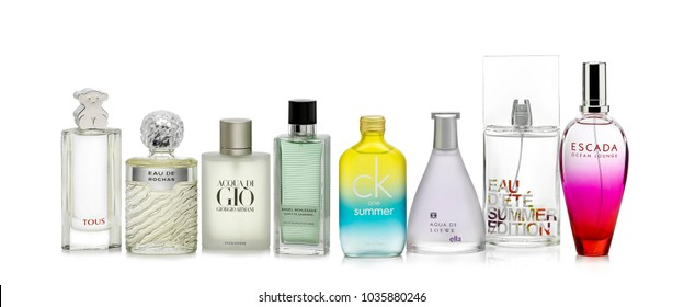 Barcelona- Spain Circa July 2017. Studio shot of several perfume brands against white background.Tous Perfume,Eau de Rochas, Gio by Giorgio Armani, Angel Schlesser,Calvin Klain Summer,Loewe, Escada