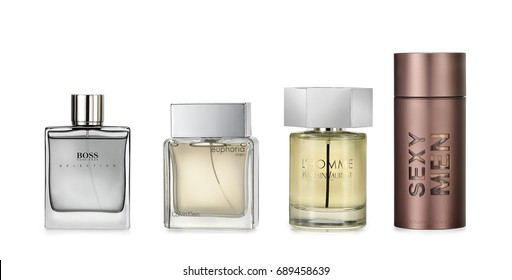Barcelona- Spain- Circa  July 2017- Studio shot of luxury fragrances for man against white background. Luxury brands: Hugo Boss Selection, Calvin Klein Euphoria, Yves Saint Laurent, Carolina Herrera