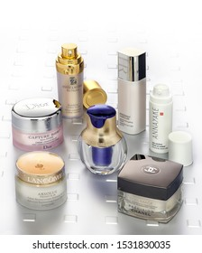 Barcelona- Spain- Circa November 2006. Different brands of luxury and distinguished moisturizer creams and anti aging repair in a glamorous set. Dior,Estee Lauder, Lancome,Chanel,Helena Rubinstein .