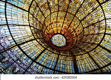 BARCELONA, SPAIN - CIRCA NOVEMBER 2013: Stained glass skylight in the concert hall of the Palau Musica