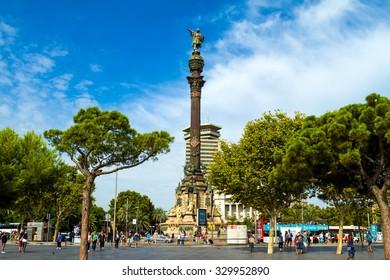 BARCELONA, SPAIN - CIRCA SEPTEMBER 2015: Columbus monument, on September 2015, in Barcelona, Spain.
