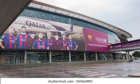 BARCELONA, SPAIN - DEC 26 2016: The entrance view of the Nou Camp, stadium of Barcelona FC.