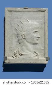 Barcelona, Spain - Dec 26th 2019: Deify Augustus Roman Emperor portrait. Sculpted by Pietro Urbano in 1525. National Art Museum of Catalonia, Barcelona, Spain