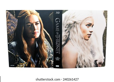 BARCELONA, SPAIN - DEC 27, 2014: Game of Thrones, a famous television series, on Blu-Ray disc, with Daenerys Targaryen (Emilia Clarke) on its cover, isolated on white background.